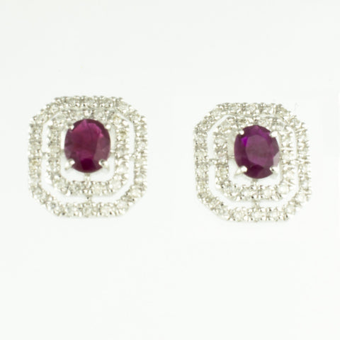 14 Kt White Gold Ruby & Diamond Ladies' Earrings