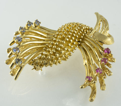 14 Kt Yellow Gold Ruby & Sapphire Brooch