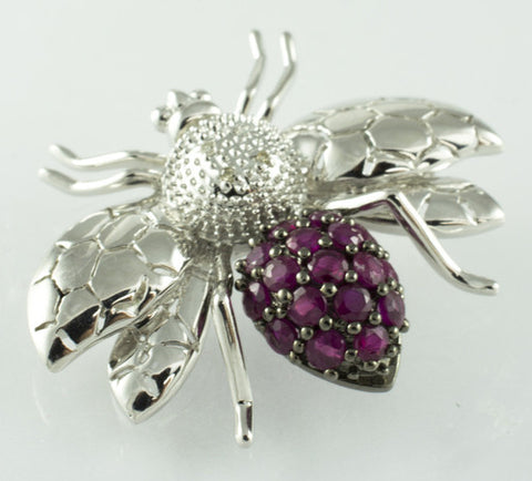 14 Kt White Gold Bee Ruby Brooch