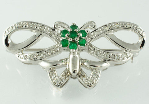 14 Kt White Gold Butterfly Emerald & Diamond Brooch