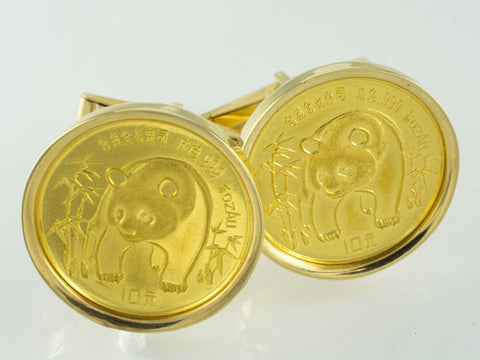 24 Kt & 14 Kt Yellow Gold Panda Cufflinks