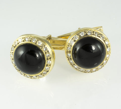 14 Kt Yellow Gold Onyx & Diamond Cuff Links