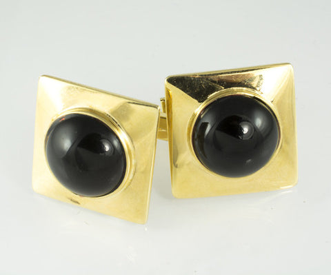 14 Kt Yellow Gold & Onyx Cuff Links