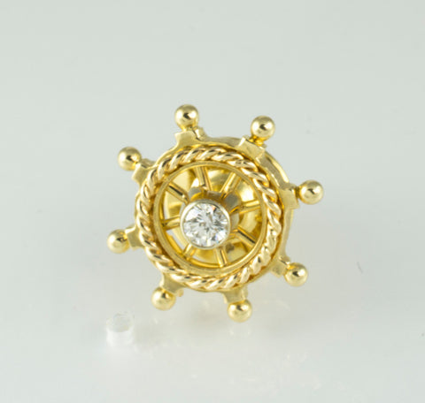 14 Kt Yellow Gold Boat Wheel Tie Tack Diamond Pin