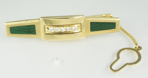 14 Kt Yellow Gold Diamond & Malachite Tie Bar