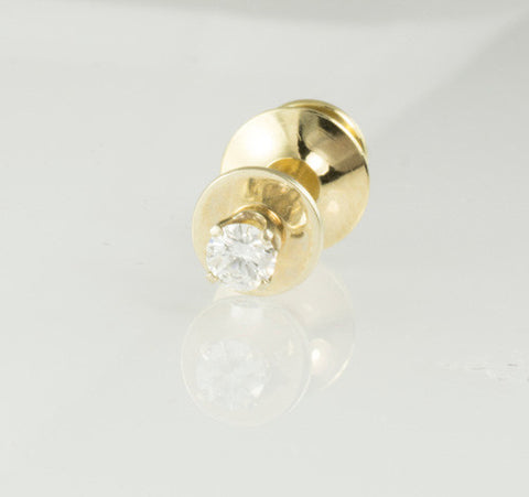 14 Kt Yellow Gold & Diamond Tie Tack