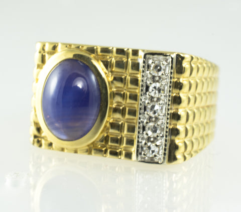 14 Kt Yellow Gold Sapphire & Diamond Men's Ring