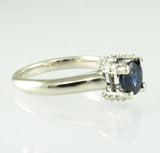 14 Kt White Gold Sapphire & Diamond Engagement Ring