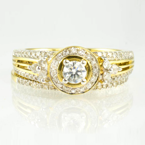14 Kt Yellow Gold Diamond Ring Set