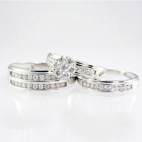 14 Kt White Gold Diamond Trio Set