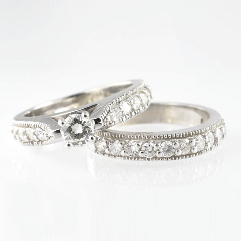 14 Kt White Gold Diamond Wedding Ring Set