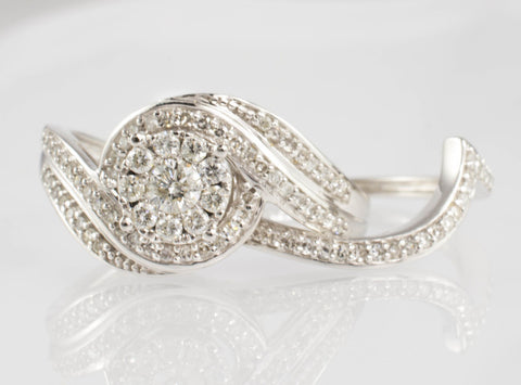 14 Kt White Gold Swirl Diamond Ring Set