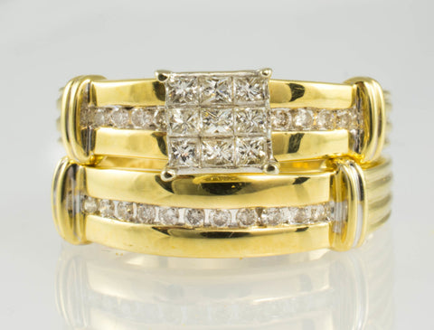 14 Kt Yellow Gold Diamond Square Wedding Set
