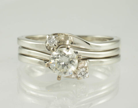 14 Kt White Gold Diamond Wedding Set