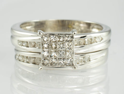 14 Kt White Gold Diamond Ring Set