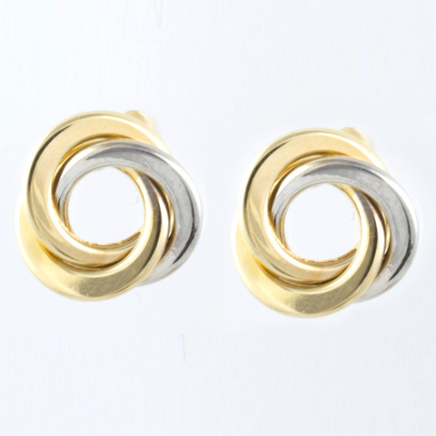 14 Kt Two Tone Gold Wrapped in Love Ladies' Earrings