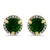 Chrome Diopside Halo Diamond Earrings