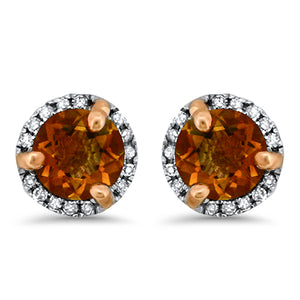 Citrine Halo Diamond Earrings