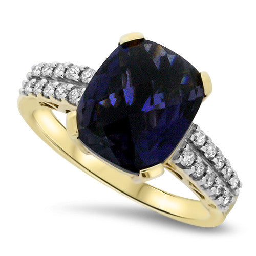 Rectangle Iolite Ring