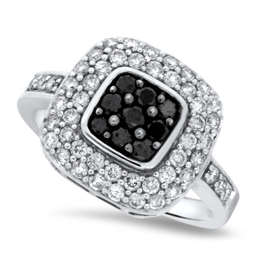 Black & White Square Diamond Ring