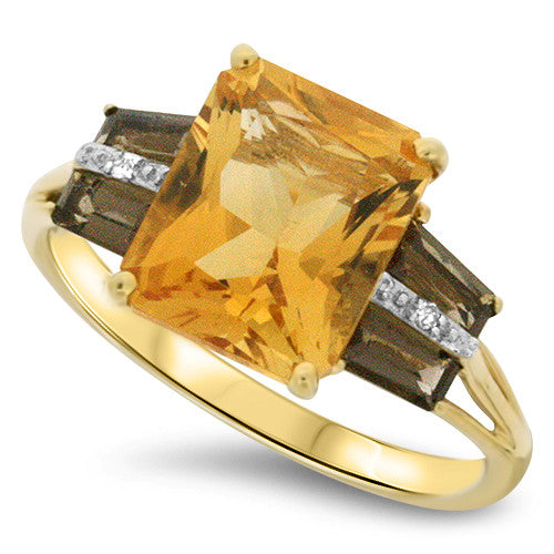 Citrine & Smokey Quartz Ring