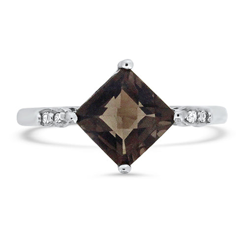 Smokey Quartz & Diamond Ring
