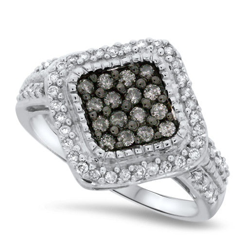 Black & White Pressed Diamond Fashion Ring