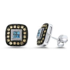 Blue & Chocolate Diamond Earrings