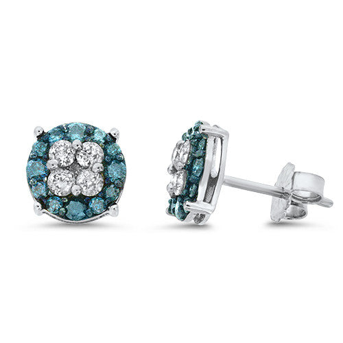 White & Blue Diamond Earrings