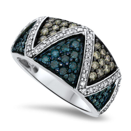 Blue, Chocolate, and White Diamond Ring