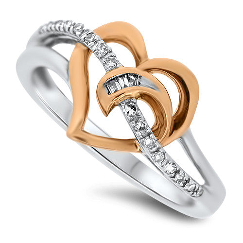 Two Tone Heart Diamond Ring