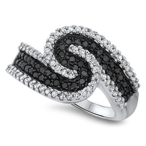 Black and White Swirl Diamond Fashion Ring