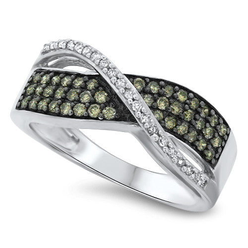 Chocolate and White Bypass Diamond Ring