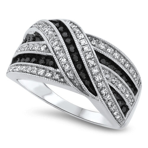 Black and White Ribbon Diamond Fashion Ring