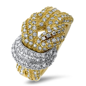 Two Tone Love Knot Diamond Ring