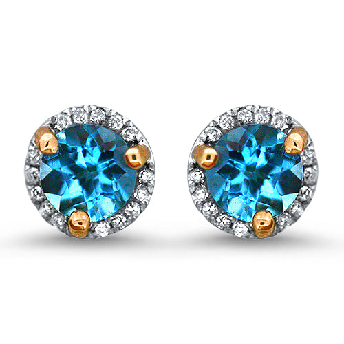 Blue Topaz Halo Diamond  Earrings