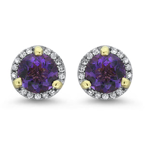 Amethyst Halo Diamond Earrings