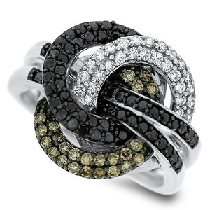 White, Black and Champagne Diamond Ring
