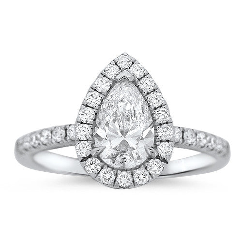 Halo Diamond Pear Ring
