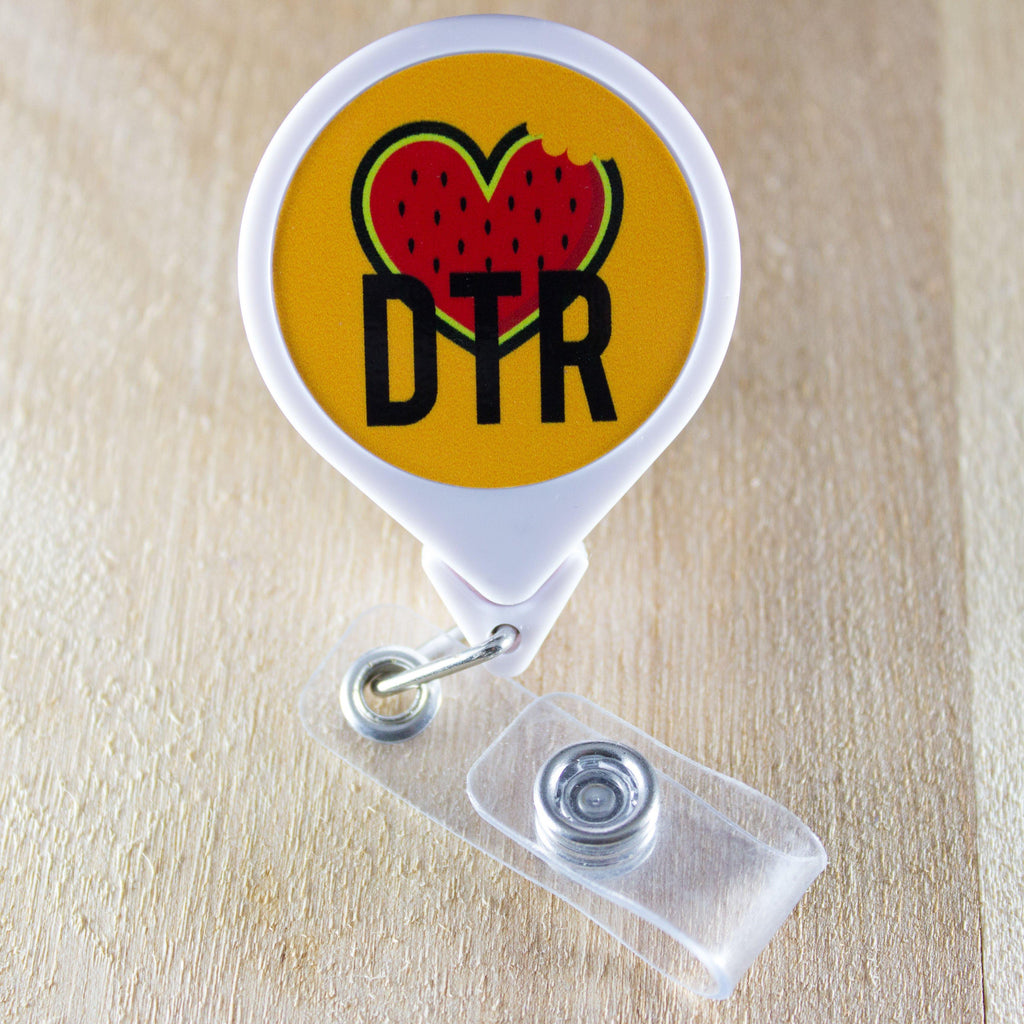DTR Watermelon Heart Retractable Badge Holder Reel | DTR Badge Holder
