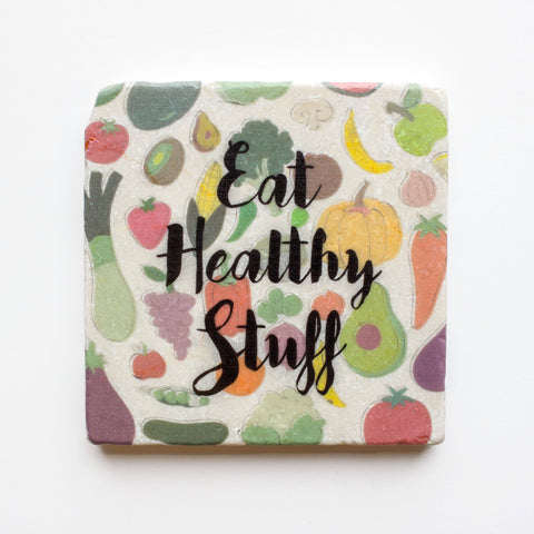 Eat Healthy Stuff Coaster | Dietitian Gift | Marble Coasters