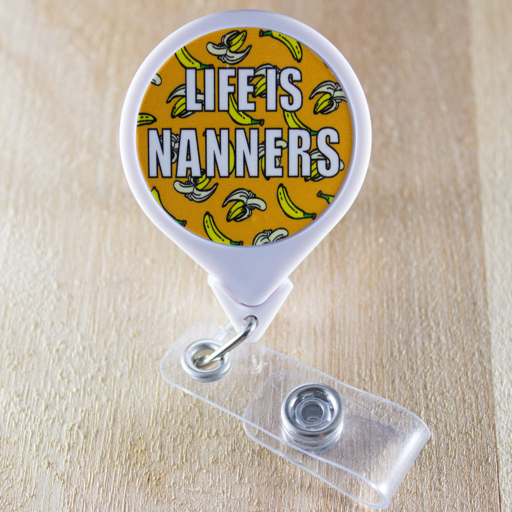 Life Is Nanners Retractable Badge Holder Reel | Banana Badge Holder | Food Badge Reel