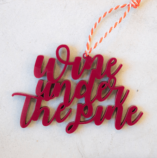 Wine Under The Pine Tree Ornament | Wine Christmas Ornament