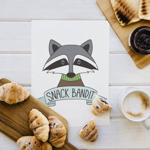 Snack Bandit Digital Download | Food Art | Food Poster