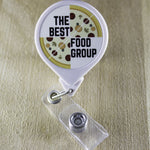 The Best Food Group (Pizza) Retractable Badge Holder Reel | Dietitian Badge Holder | RD2BE Badge Reel