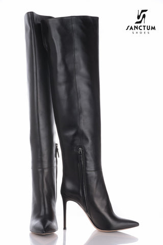 Italian overknee boots with thin heels in fine black leather