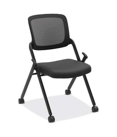 HON Assemble Mesh Back Nesting / Stacking Chair | Armless | Two Per Carton | Black Fabric | Black Mesh | Black Frame