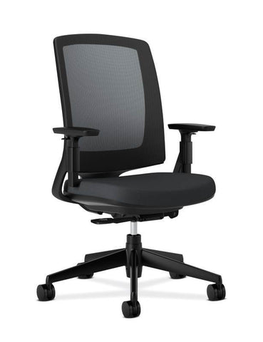 HON Lota Mesh Back Chair | Weight-Activated Tilt, Upright Lock | Black Arms and Base | Adjustable Arms | Black Fabric