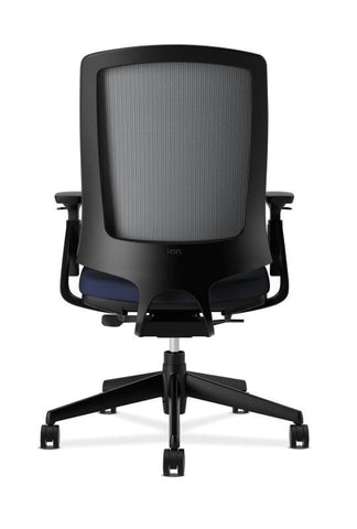 HON Lota Mesh Back Chair | Weight-Activated Tilt, Upright Lock | Black Arms  and Base | Adjustable Arms | Navy Fabric