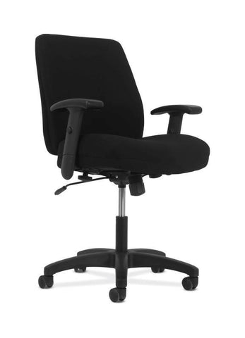 HON Contemporary Mid-Back Task Chair | Swivel-Tilt Control | Height- and Width-Adjustable Arms | Black Fabric
